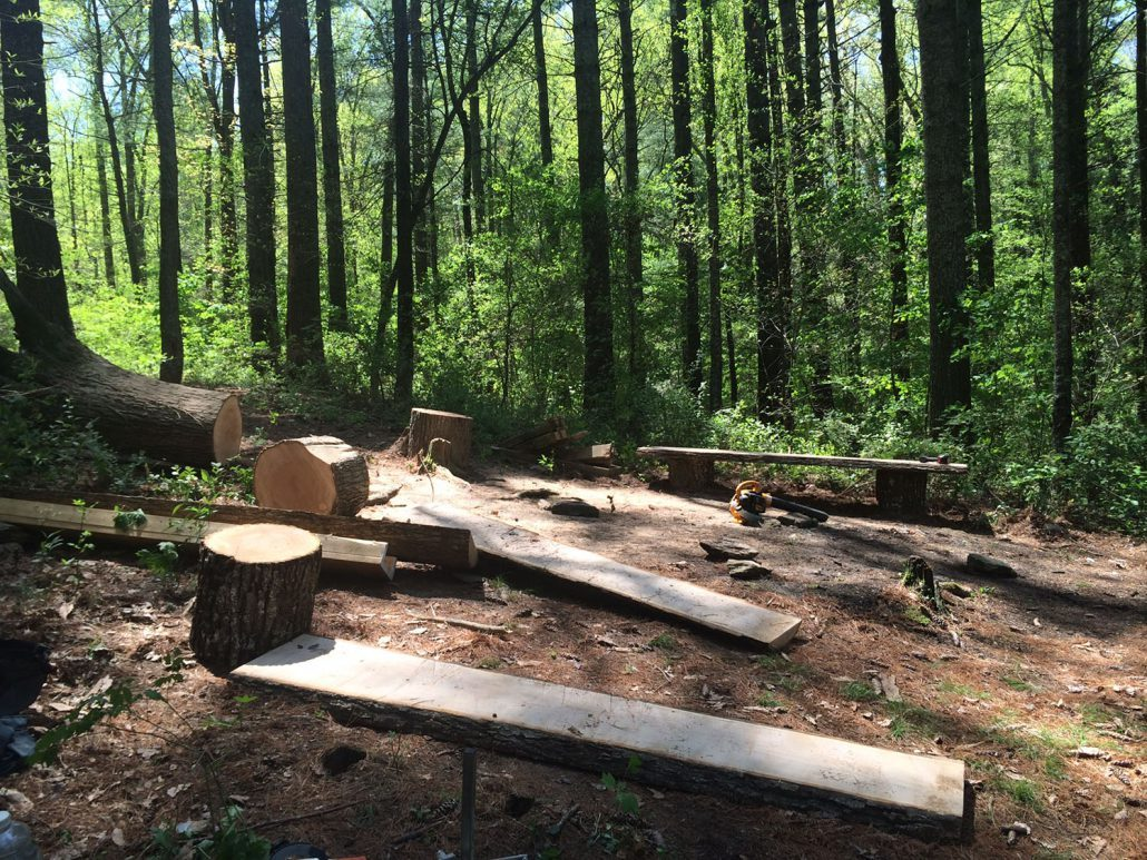 Building log benches